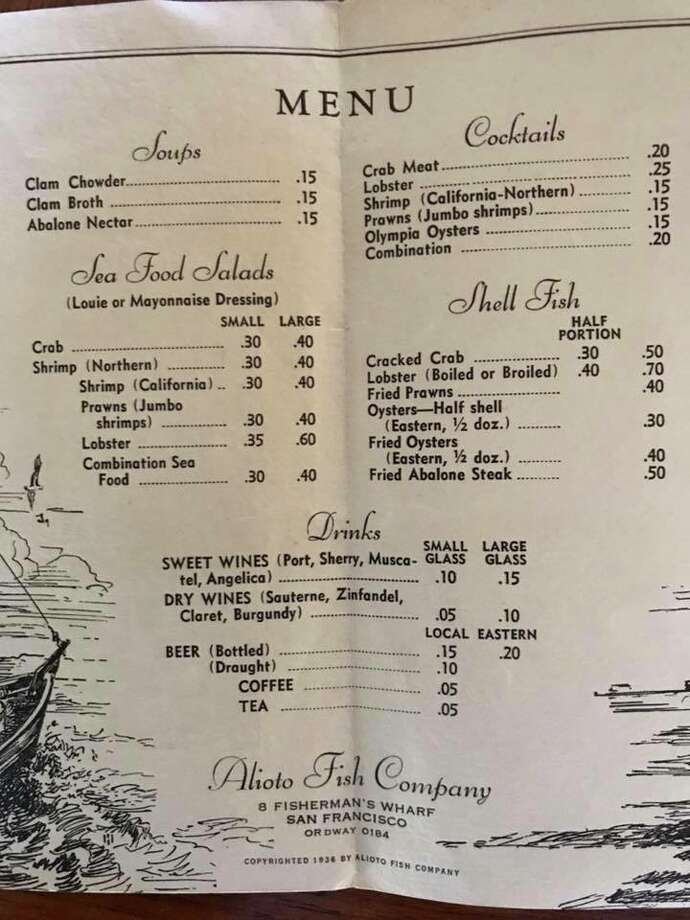 Old Restaurant Menus San Francisco