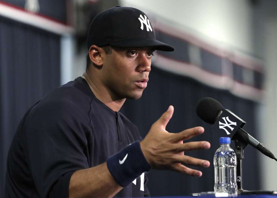 Seattle Seahawks quarterback Russell Wilson speaks during a news conference at New York Yankees baseball spring training camp, Monday, Feb. 26, 2018, in Tampa, Fla. (AP Photo/Lynne Sladky) Photo: Lynne Sladky/AP