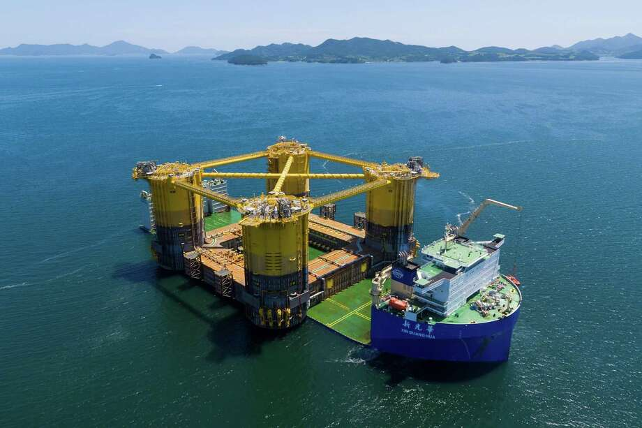A four-column hull of a massive deep-water oil platform owned by Royal Dutch Shell recently departed from South Korean shipyards, on its way to Texas, where it will be attached to the topsides of the platform before its installation in the Gulf of Mexico. Photo: Shell
