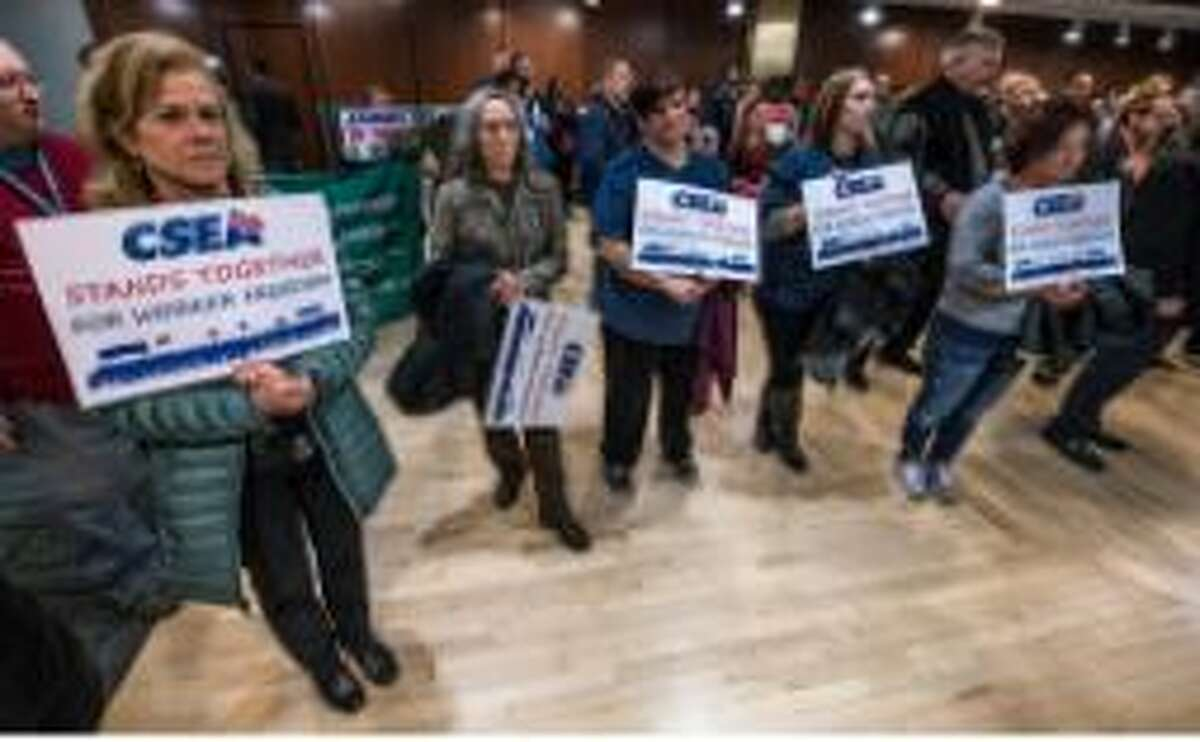 CSEA members rally as the Janus case went before the U.S. Supreme Court on Monday