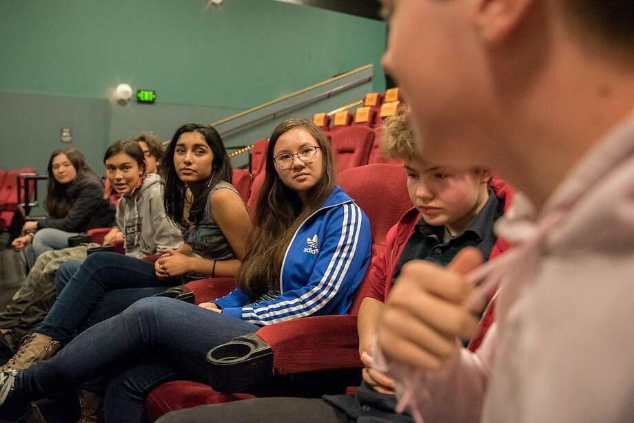 """Lick Wilmerding High School students discuss their experiences as LGBTQ teenagers, after the advance screening of """"Love, Simon"""" in San Francisco on February 13, 2018. (l-r) Helen Sturman, 16, Cory Beizer, 16, Annette Vergara-Tucker, 16, Olivia Jacob, 16, Maxine Schulte, 16, Jocelyn Murphy, 15, and Chris Story, 18. Photo: Rosa Furneaux, Special To The Chronicle"""
