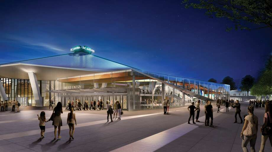 A rendering of the renovated KeyArena shows the glass atrium from the southwest. Photo: Courtesy Oak View Group