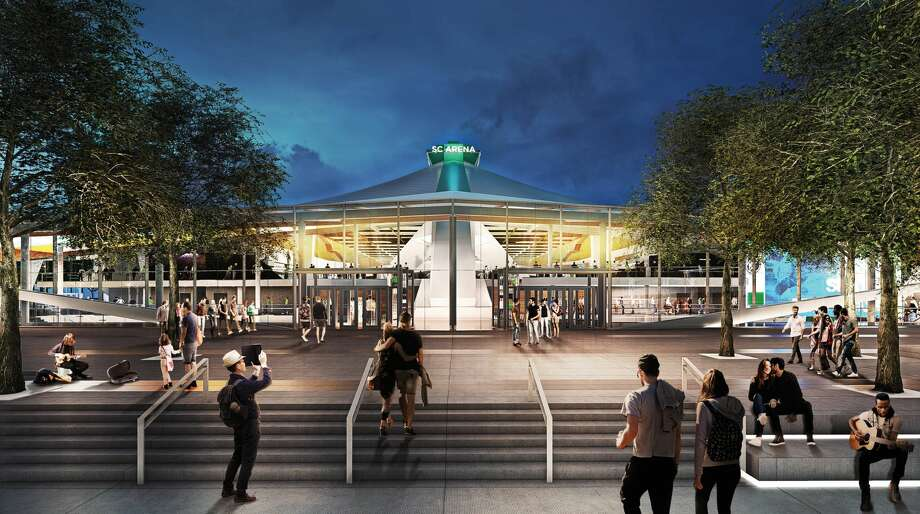 A rendering of the renovated KeyArena shows the glass atrium from the south. Photo: Courtesy Oak View Group