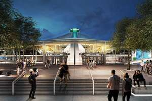 A rendering of the renovated KeyArena shows the glass atrium from the south.