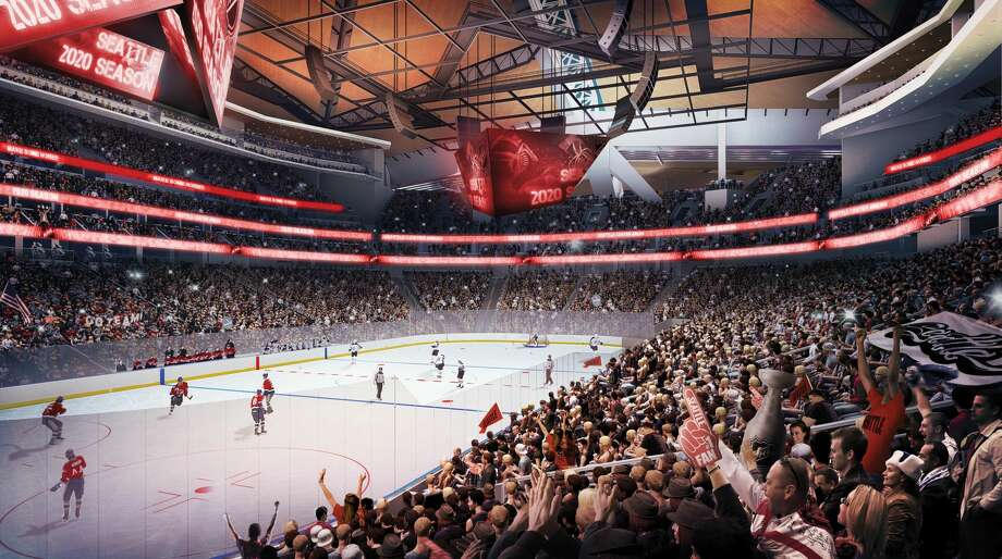 A rendering from KeyArena developer Oak View Group shows a hockey team playing in front of a packed house. Photo: Courtesy Oak View Group