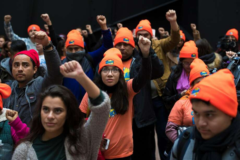Protesters demonstrate over the fate of the Deferred Action for Childhood Arrivals program. The U.S. Supreme Court on Feb. 26, 2018, rejected an unusual request from the Trump administration to decide whether it was entitled to shut down a program that shields some 700,000 young, undocumented immigrants from deportation. Photo: TOM BRENNER, NYT