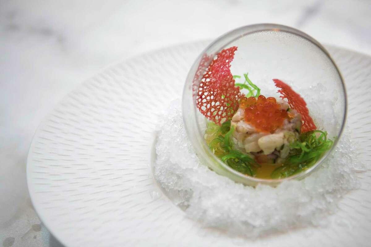 Gulf Shrimp tartare with caviar and dashi gel at Lucienne
