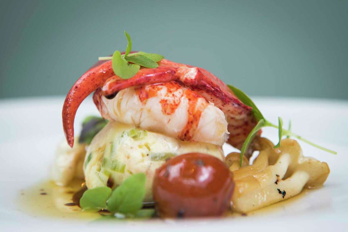 Lobster with fennel bread pudding and saba brown butter at Lucienne