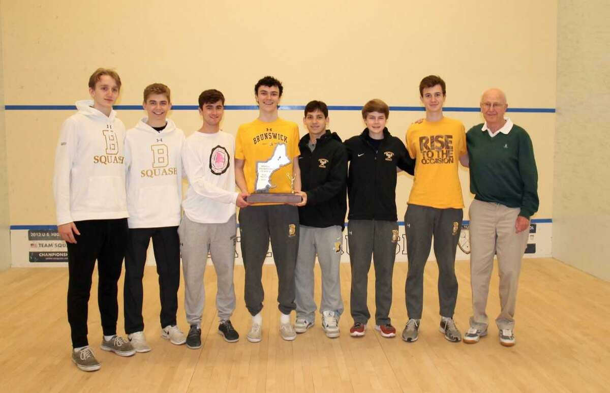 The Brunswick School squash team won the NEISA Class A title for the seventh straight season Sunday at Choate Rosemary Hall. Team members, from left, Dana Santry, Brian Leonard, Patrick Feeley, Will Holey, Max Finkelstein, Pierce Henderson, Nick Spizzirri and coach Jim Stephens.
