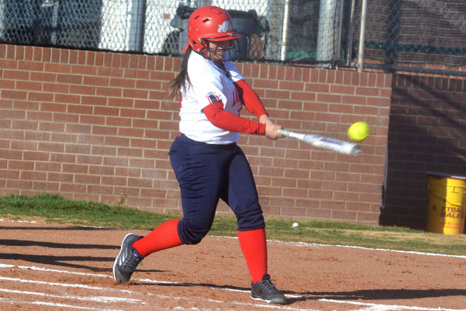 Plainview's Gabbie Godino connects for a hit during a game earlier this season. Godino had a home run and four RBI in a victory over Muleshoe at the Bushland Tournament Saturday. The Lady Bulldogs won four of five games during the three-day tourney. Photo: Skip Leon/Plainview Herald