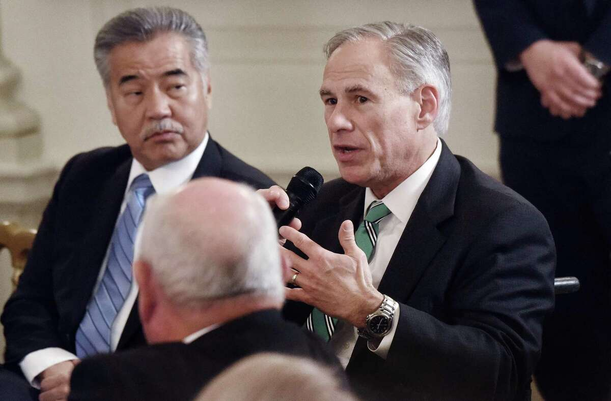 Gov. Greg Abbott speaks at the 2018 White House Business Session with state governors Monday in the State Dinning Room of the White House.
