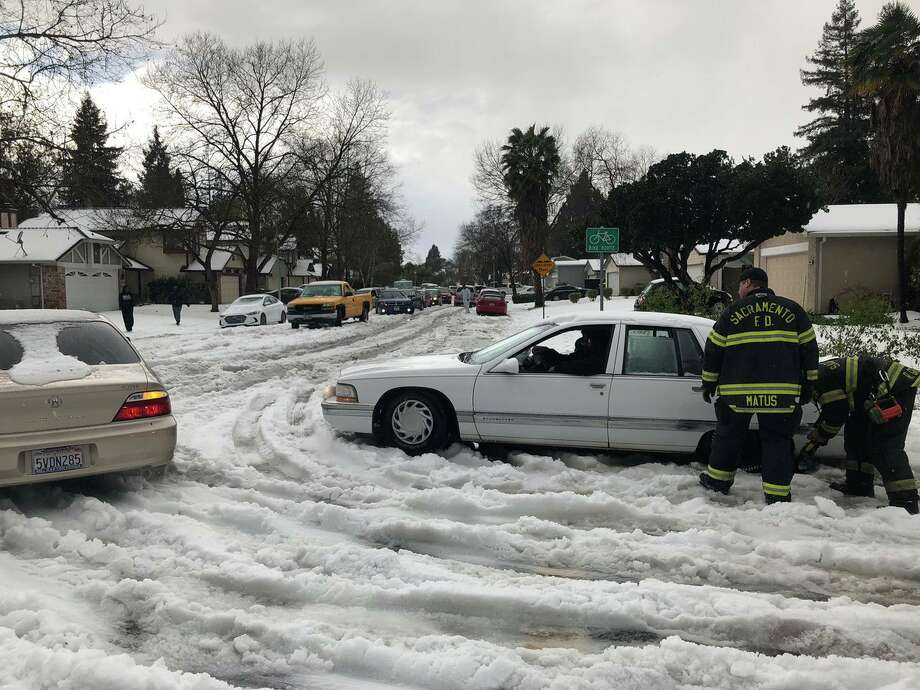 Storms and hail pelted the Sacramento area. Photo: Sacramento Fire Department