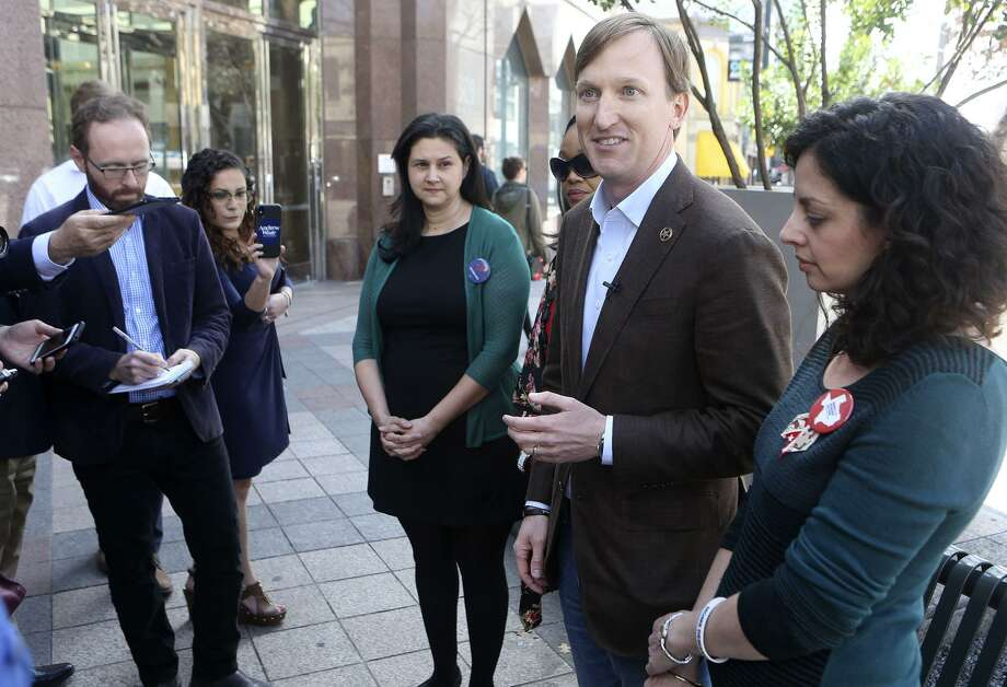 Democratic candidate for Texas governor Andrew White (second from right) speaks Monday in Austin about gun sales and ownership in light of the recent school shooting in Florida. Photo: John Davenport /San Antonio Express-News / ©John Davenport/San Antonio Express-News