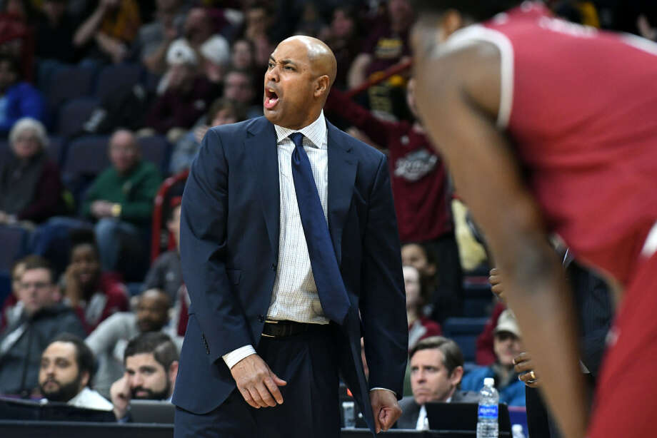 Rider coach Kevin Baggett and his players are pursuing the Broncs' first MAAC Tournament title. (Will Waldron/Times Union)