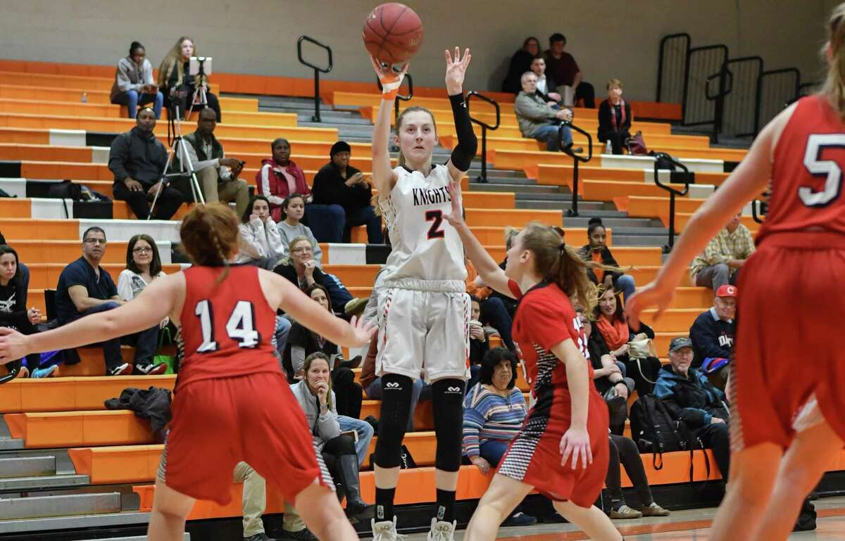 Megan Landsiedel (2) of the Stamford Black Knights puts up a jump shot during the Class LL opening round game against the E.O Smith Panthers at Stamford High School on Monday February 26, 2018, in Stamford, Connecticut.