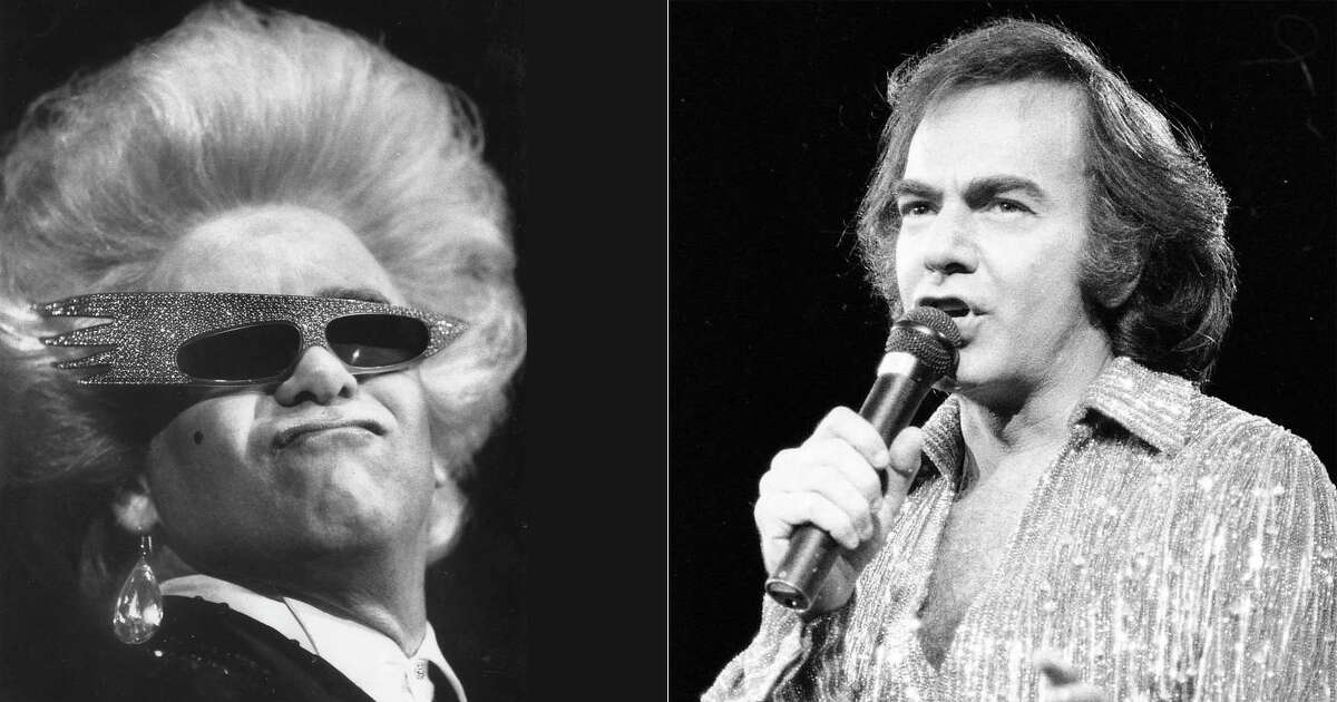 When pop music giants like Neil Diamond (right) and Elton John (left) announce an end to their concert touring days - as they both did in late January 2018 - it revives memories of past performances in the Bay Area. Photo: Chris Stewart (left) & Steve Ringman (right) / The Chronicle