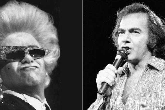When pop music giants like Neil Diamond (right) and Elton John (left) announce an end to their concert touring days — as they both did in late January 2018 — it revives memories of past performances in the Bay Area. Photo: Chris Stewart (left) & Steve Ringman (right) / The Chronicle