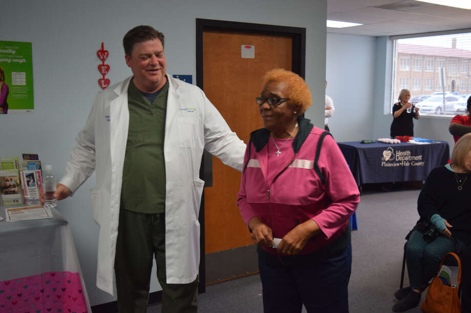 Covenant Health Plainview cardiologist, Dr. Kevin Jones and Ruby Riggins converse following the third annualHeartMattershealth forum hosted by the hospital and the Plainview/Hale County Health Department this past Thursday. Jones talked on manyhearthealth related topics and also took questions from a full house. The health forums will continue in 2018, including an all-Spanish language forum on diabetes set for May 3, with County Medical Director, Dr. Sergio Lara. Photo: Homer Marquez, Covenant Health Plainview
