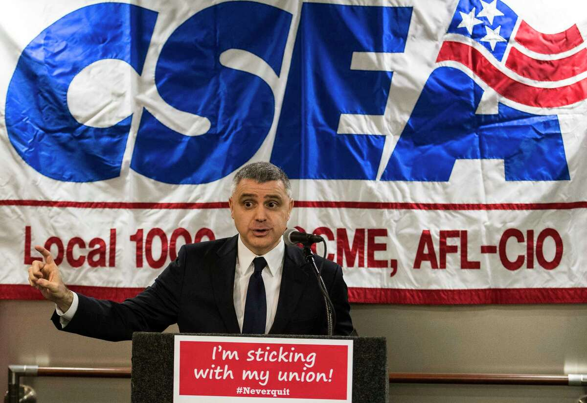 New York State AFL CIO president Mario Cilento speaks at a Rally For Rights put on by the CSEA at the Empire State Plaza on Monday, Feb. 26, 2018, in Albany, N.Y. (Skip Dickstein/Times Union)
