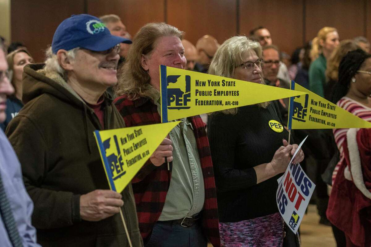 A large group of CSEA members attend a Rally For Rights at the Empire State Plaza to listen to speakers ranging from elected officials to union members on Monday, Feb. 26, 2018, in Albany, N.Y. (Skip Dickstein/Times Union)