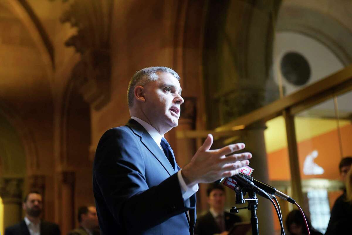 Mario Cilento, president of New York State AFLCIO, talks about the Janus Supreme Court case over union dues, during a press conference at the Capitol on Monday, Feb. 26, 2018, in Albany, N.Y. (Paul Buckowski/Times Union)