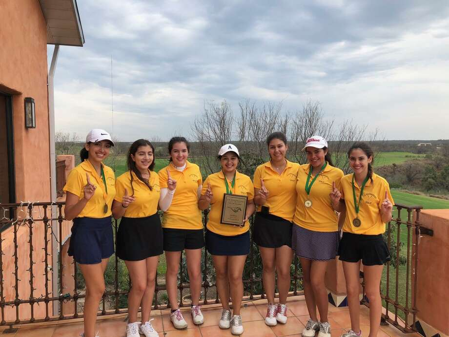 The Alexander girls' golf team took first place in the Nixon Golf Invitational last Monday at Laredo's Max Golf Course. The Lady Bulldogs were led by Monica Rangel, who fired an 83 — good for second place individually. Paola Morales shot 86 and tied for fourth place overall. Freshmen Catherine Flores (88) and Danniell Hale (90), also finished in the top 10. Marifer Verduzco, Daniella Morales, Estefania Diaz, and Emily Munoa also contributed. Photo: Courtesy Photo