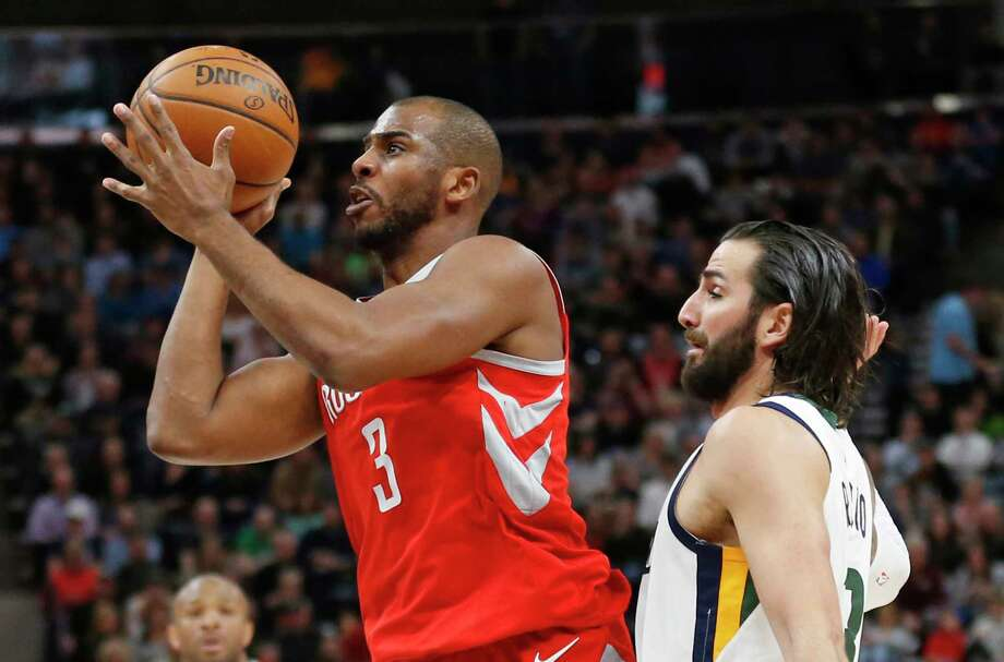 Houston Rockets guard Chris Paul (3) shoots as Utah Jazz guard Ricky Rubio, right, defends in the first half during an NBA basketball game, Monday, Feb. 26, 2018, in Salt Lake City. (AP Photo/Rick Bowmer) Photo: Rick Bowmer, Associated Press / Copyright 2018 The Associated Press. All rights reserved.
