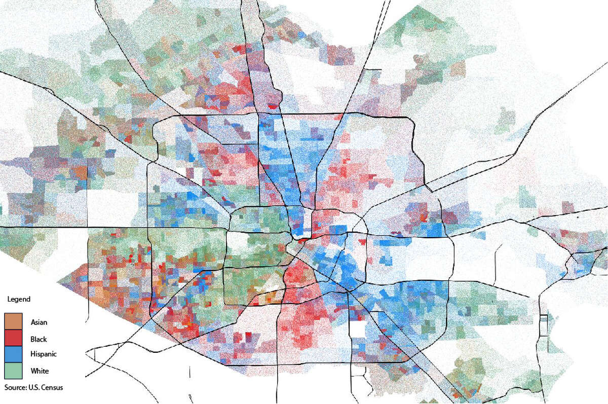 This map shows just how blended each Houston area neighborhood by U.S. Census tract, using spatial analysis. >>>Scroll through the rest of the images to see each race individually.