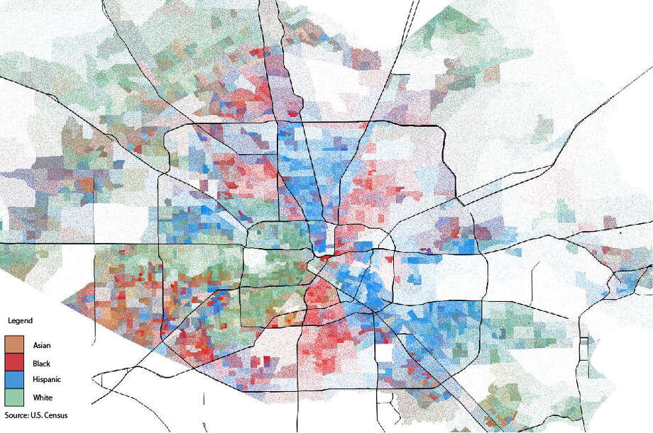 Five maps illustrate Houston's racial ethnic breakdown by