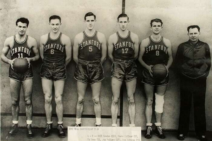 FILE-Five starting Stanford, Calif., University basketball players, from left, Bill Cowden, Howie Dallmar, Ed Voss, Jim Pollard, Don Burness and coach Everett Dean of the 1942 NCAA Final Four national basketball champions are shown in this file photo. Stanford will be playing in the Final Four on Saturday for the first time since 1942. (AP Photo/Stanford University, File) ALSO RAN: 03/15/2001
