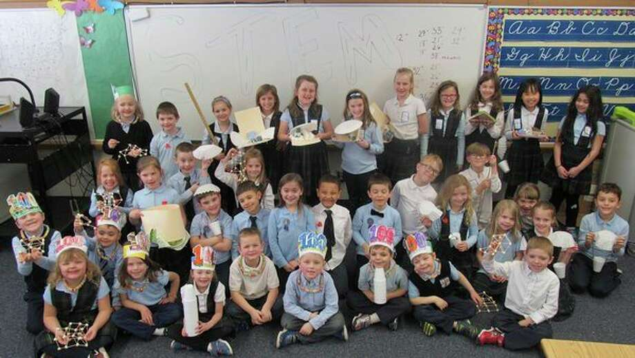 Students in kindergarten, first, second and third grades at Blessed Sacrament Catholic School spent a recent afternoon exploring STEM activities. Students were challenged with construction and problem-solving as they built habitats, parachutes, towers, chairs and more. (Photo provided)