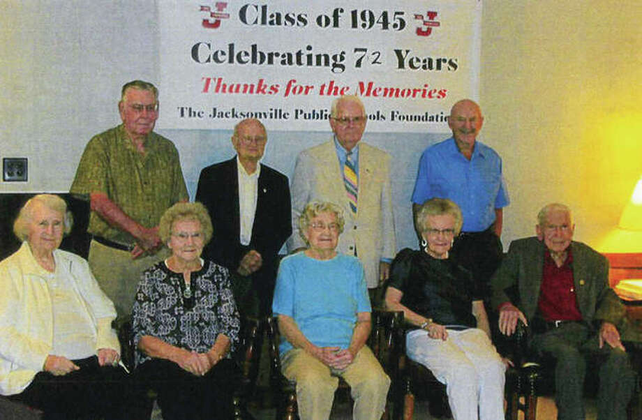 JHS Class of 1945 reunites Nine members of Jacksonville High School's Class of 1945 reunited Sept. 16 for dinner at the Elks Lodge. Those attending were Carolyn Potter (front row, from left), Cathryn Reynolds, Frances Kirchhofer, Virginia Hickey, Jerry Flynn, Bill Davidsmeyer (back row, from left), Bob Duncan, Cornell Kane and Jack Spradlin. Along with the classmates, six guests also were on hand for the family-style meal. Several also met Sept. 15 for pizza at Leo's. It was decided to do it again next year, with pizza at Leo's on Sept. 14 and dinner at the Elks Lodge on Sept. 15. Photo provided