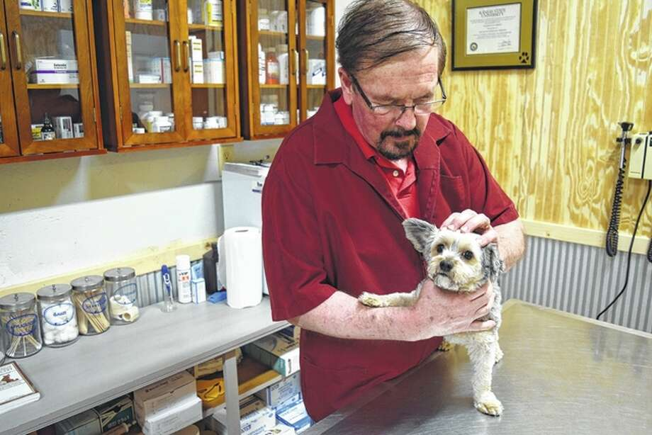 Veterinarian Bill Debold looks at his Morkie, Gizmo, at his clinic, set to open March 6 in Winchester. Morkies are a mix of Maltese and Yorkshire terriers. Greg Olson | Journal-Courier