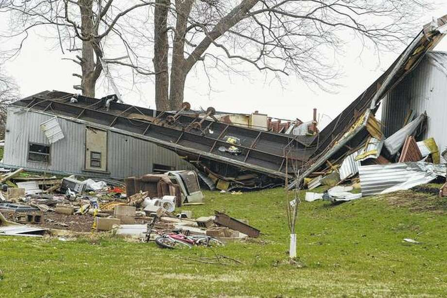 Several mobile home in Versailles were toppled when a strong storm system moved through the Brown County community Tuesday. The National Weather Service confirmed Thursday that a tornado touched down in the town. Samantha McDaniel-Ogletree | Journal-Courier