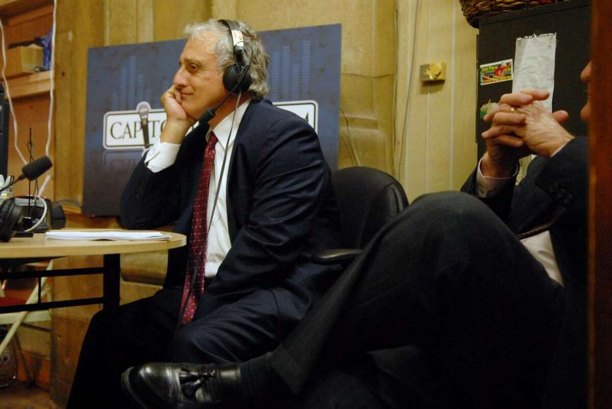 Buffalo businessman Carl Paladino, who is seeking a line on the GOP primary ballot for governor via the petition route, is interviewed Tuesday by Susan Arbetter during her public radio news magazine show at the Capitol. (Paul Buckowski/Times Union)