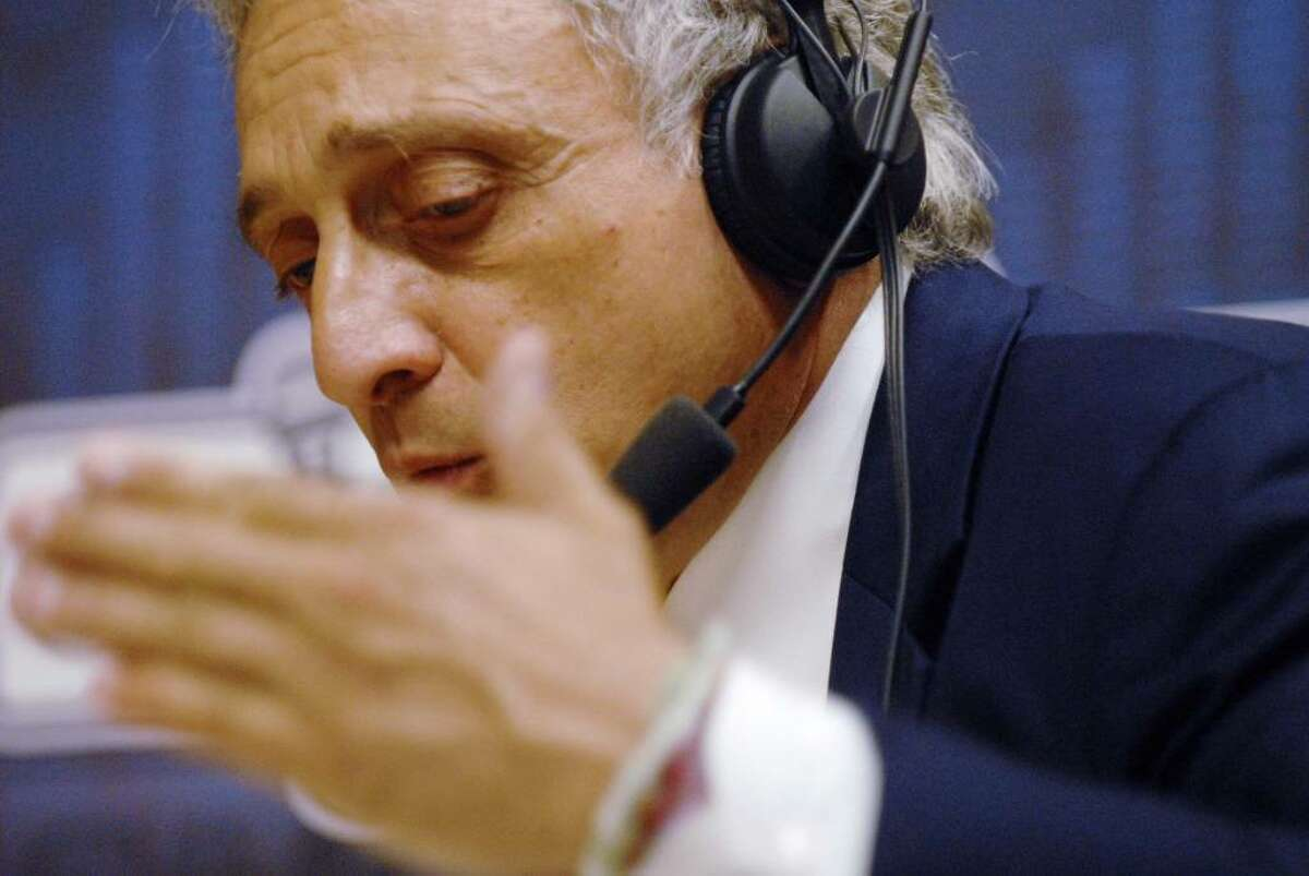 Carl Paladino, who is seeking to enter the Republican primary for governor through a petition drive, is interviewed by Susan Arbetter during her public radio news magazine show Tuesday at the Capitol. (Paul Buckowski / Times Union)