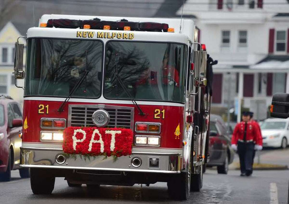 Water Witch Hose Co. #2 in New Milford will honor one of their own, the late Patrick Maguire, a past chief, with a special lunch for first responders and their families March 10. Above is one of the department's trucks that carried a special floral arrangement bearing his name during the funeral procession in January.