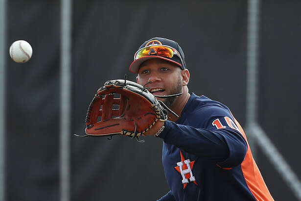 Houston Astros first baseman Yuli Gurriel (10) during spring training at The Ballpark of the Palm Beaches, Wednesday, Feb. 21, 2018, in West Palm Beach. ( Karen Warren / Houston Chronicle )