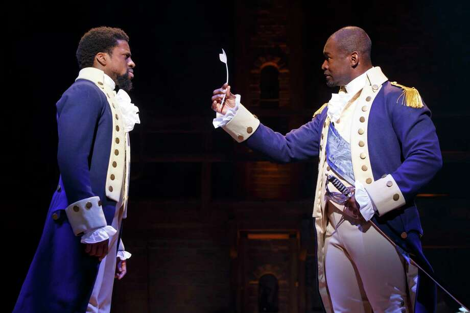 "Michael Luwoye and Isaiah Johnson in the touring production of ""Hamilton."" Photo: Joan Marcus / ©2017 Joan Marcus"