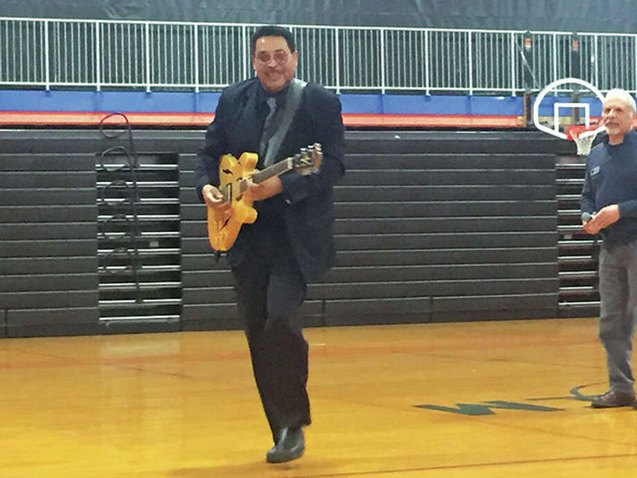 In celebration of Black History Month, Lincoln Middle School hosted  Dave Beardsley and  Vince Martin who were representing the National Blues Museum out of St. Louis. Beardsley spoke about the birth and development of the blues and  Martin livened the show up with some outstanding guitar playing and singing. Photo: Julia Biggs
