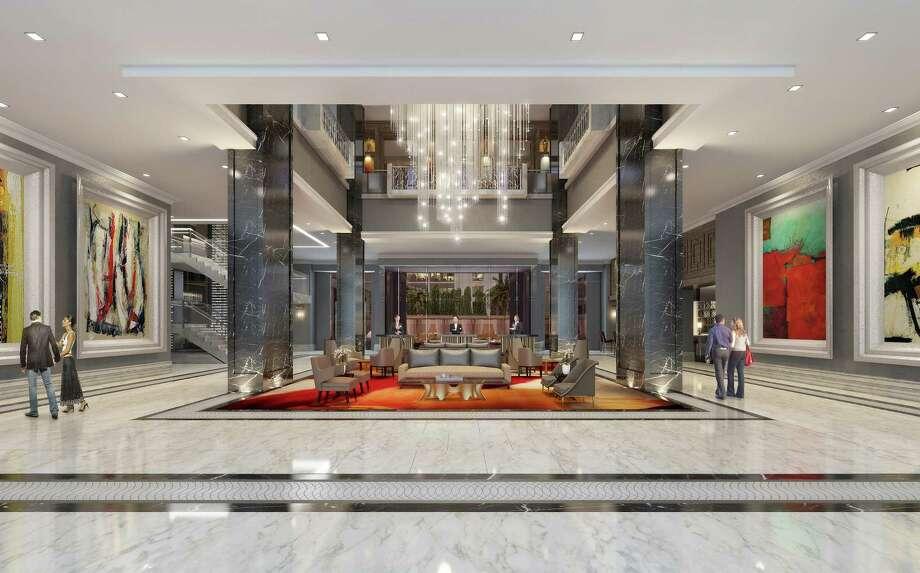Artist rendering of the lobby at The Post Oak Hotel. Photo: Fertitta Entertainment