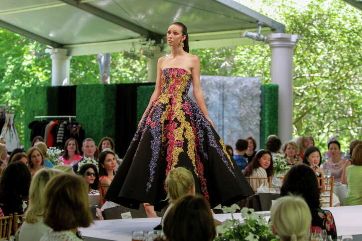 An Oscar de la Renta gown at the Museum of Fine Arts, Houston Bayou Bend Fashion Show and Luncheon