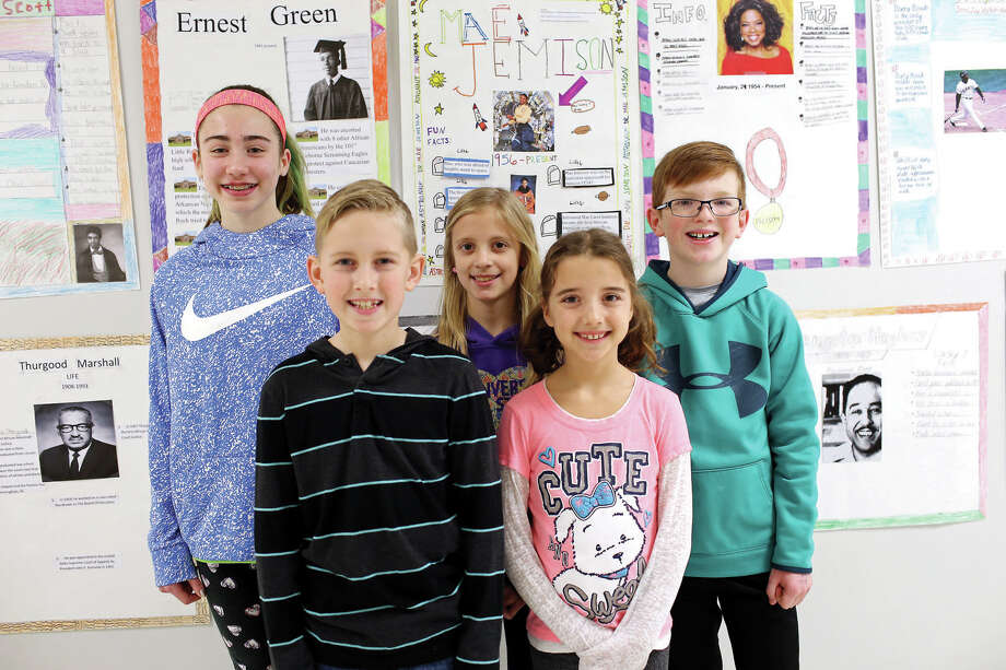 Cassens Elementary School recently honored its Young Authors competition winners. They are, from left: Taylor Smith, fifth grade; Kole Kanallakan, fourth grade; Sydney Powell, third grade; Laila Venzon, fourth grade and Jack Rigoni, fifth grade. Photo: Marci Winters-McLaughlin/Intelligencer