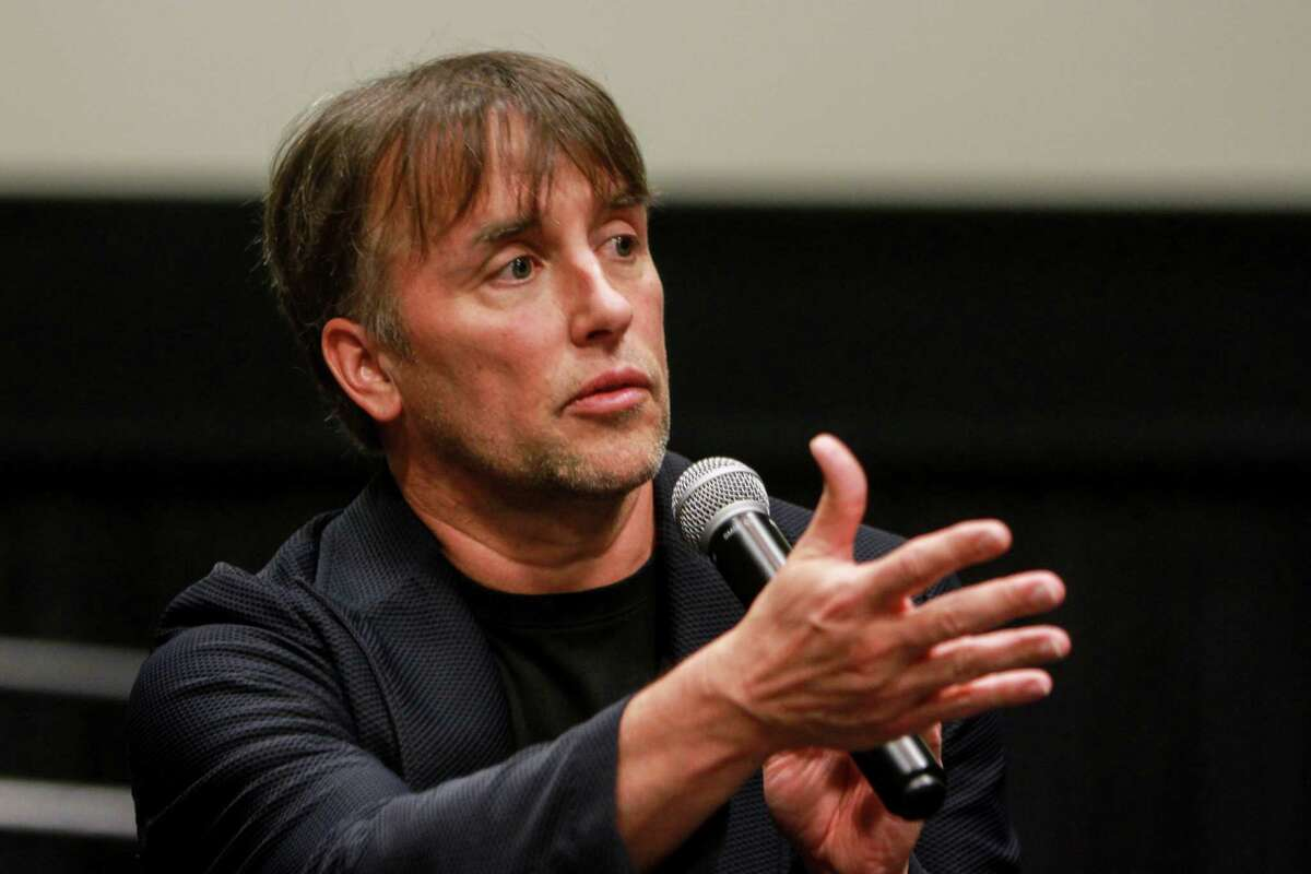"""Houston native Richard Linklater talks to the audience after a special screening of his film, """"Last Flag Flying."""" The film was hosted by the Helping A Hero organization, which works with wounded veterans. (For the Chronicle/Gary Fountain, October 26, 2017)"""