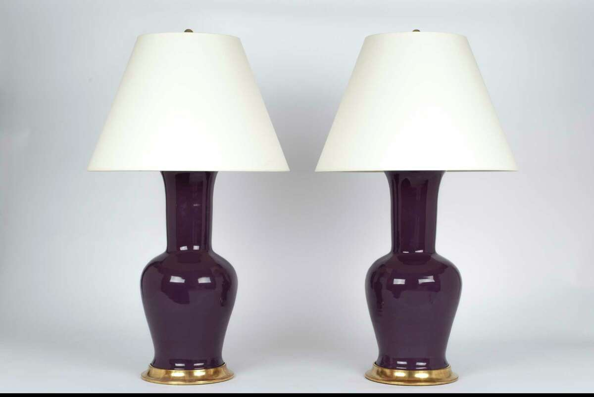 Christopher Spitzmiller's classic lines and deeply pigmented glazes turn table lighting into art. Here, his Garniture model in aubergine with 23 karat gold water gild bases will earn a place in your home well past Pantone's year-long color reign. $3,040; Found, 3433 W. Alabama
