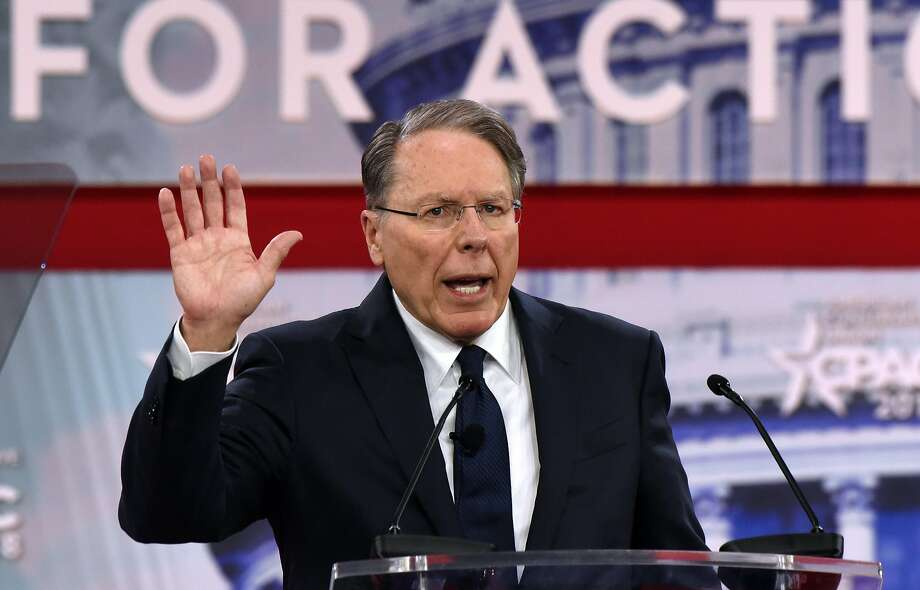 Wayne LaPierre of the National Rifle Association gives a pro-gun address. Photo: Olivier Douliery, TNS