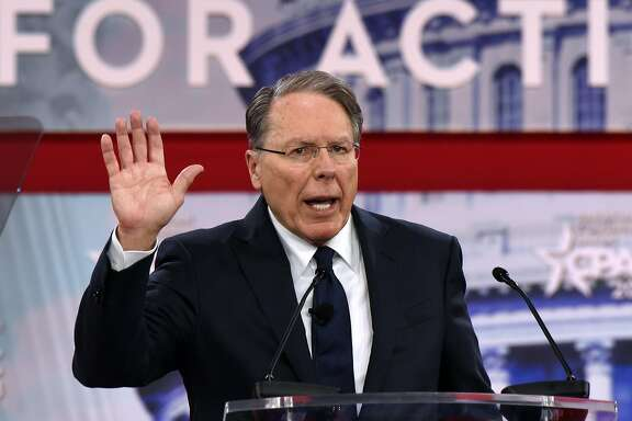 NRA Executive Vice President and CEO Wayne LaPierre speaks during the Conservative Political Action Conference at the Gaylord National Resort and Convention Center on February 22, 2018, in National Harbor, Md. (Olivier Douliery/Abaca Press/TNS)