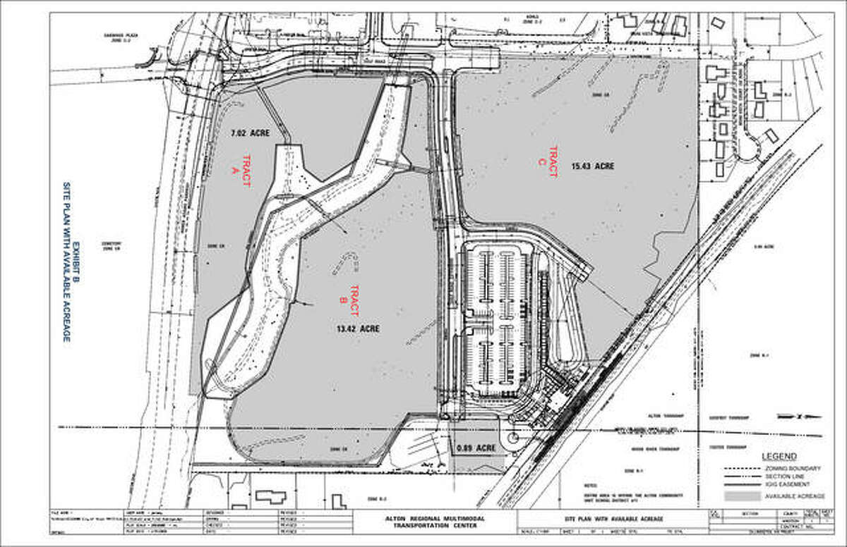 """The above site plan, one of four such maps in the city of Alton's """"Wadlow Town Center Development Opportunity Request for Proposals"""" shows the three tracts at the site available for development at the Alton Regional Multi-Modal Transportation Center site, north of Homer Adams Parkway. The transportation center, in white, is visible on the map by its large adjacent parking lot. Tract """"A"""" is on the southwest corner of the property, with 7.02 acres; Tract """"B,"""" with 13.42 acres is in the middle, above the curving strip of green space; and Tract """"C,"""" at the top of the site plan has 15.43 acres for development. The city began advertising the request for proposals on Thursday; proposals are due March 1."""