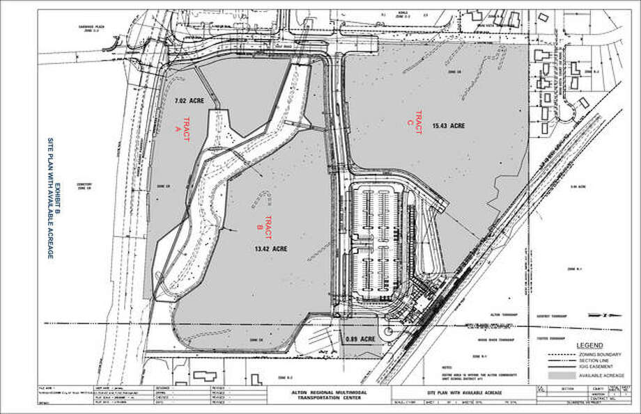 "The above site plan, one of four such maps in the city of Alton's ""Wadlow Town Center Development Opportunity Request for Proposals"" shows the three tracts at the site available for development at the Alton Regional Multi-Modal Transportation Center site, north of Homer Adams Parkway. The transportation center, in white, is visible on the map by its large adjacent parking lot. Tract ""A"" is on the southwest corner of the property, with 7.02 acres; Tract ""B,"" with 13.42 acres is in the middle, above the curving strip of green space; and Tract ""C,"" at the top of the site plan has 15.43 acres for development. The city began advertising the request for proposals on Thursday; proposals are due March 1. Photo: For The Telegraph"