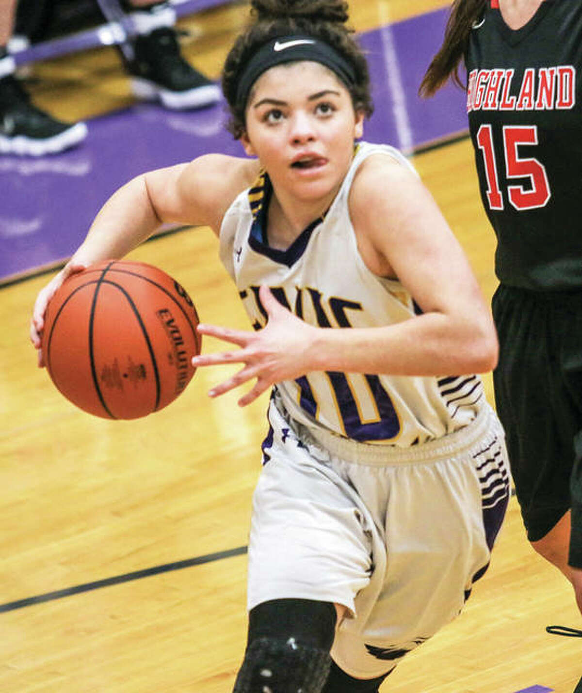 Civic Memorial sophomore Kourtland Tyus scored nine points and turned in a big floor game Thursday night in the Eagles' Mississippi Valley Conference win over the Knights in Troy. Tyus is shown in action Jan. 24 in a win over Highland in Bethalto.